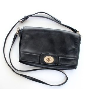 Kate Spade Black Leather Crossbody Bag with Gold Accents